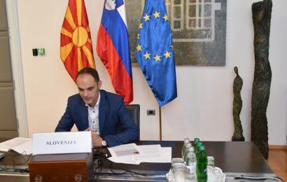 Virtualno srečanje ministra dr. Logarja z zunanjim ministrom Severne Makedonije Dimitrovom