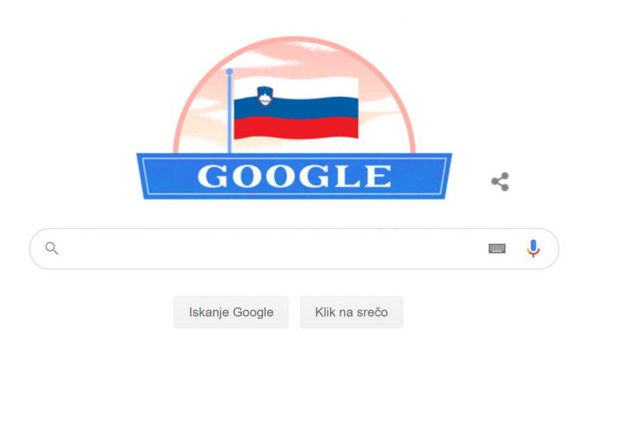 Google obarvan v Slovenske barve! Čestitke ob državnem prazniku Slovenije iz Amerike!